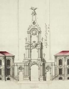 Entwurf von Rastrelli: die Nordfassade des Schlosses Rundāle mit dem Torturm