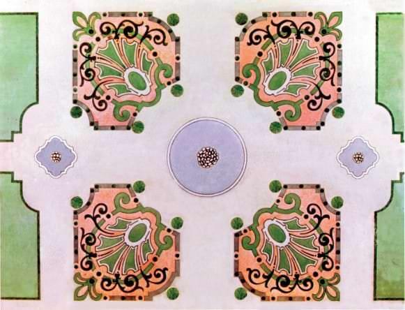 """Ornamentālais parters ar strūklaku baseiniem. Institūta """"Giproteatr"""" 1975. gada projekts"""