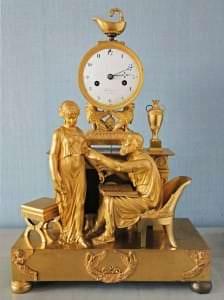 Kamīna pulkstenis. Francija, Parīze, pulksteņmeistras Žozefs Fransuā Piolēns. 19. gs. sākums
