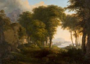 """Jakobs Filips Hakerts (?) """"Arkādijas ainava"""". Itālija, 18. gs. 4. ceturksnis"""
