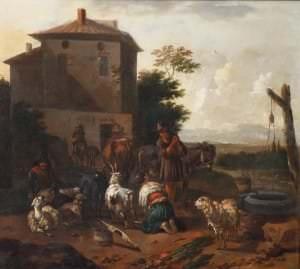 Jans Franss Solmakers. Pie pilsētas akas. Holande, 17. gs. 2. puse