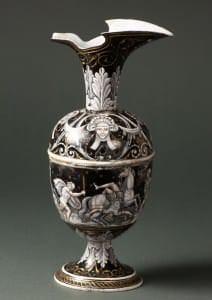 Krūze ar emaljas gleznojumu. Francija, Limoža, Pjēra Reimona darbnīca, 16. gs. 2. puse