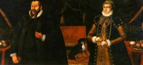 Герцог Готхард и герцогиня Анна. Неизвестный художник по более древнему прототипу. 1584. Германия, Хофестадтский замок