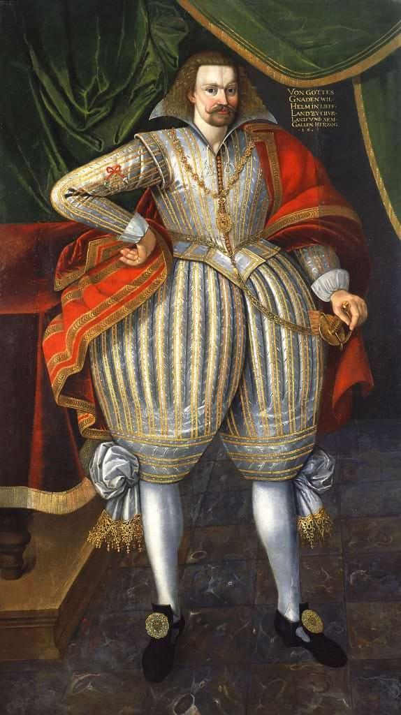 Герцог Курляндии Вильгельм. Неизвестный художник. 1615. Находится в экспозиции Рундальского дворца-музея «От готики до стиля модерн»