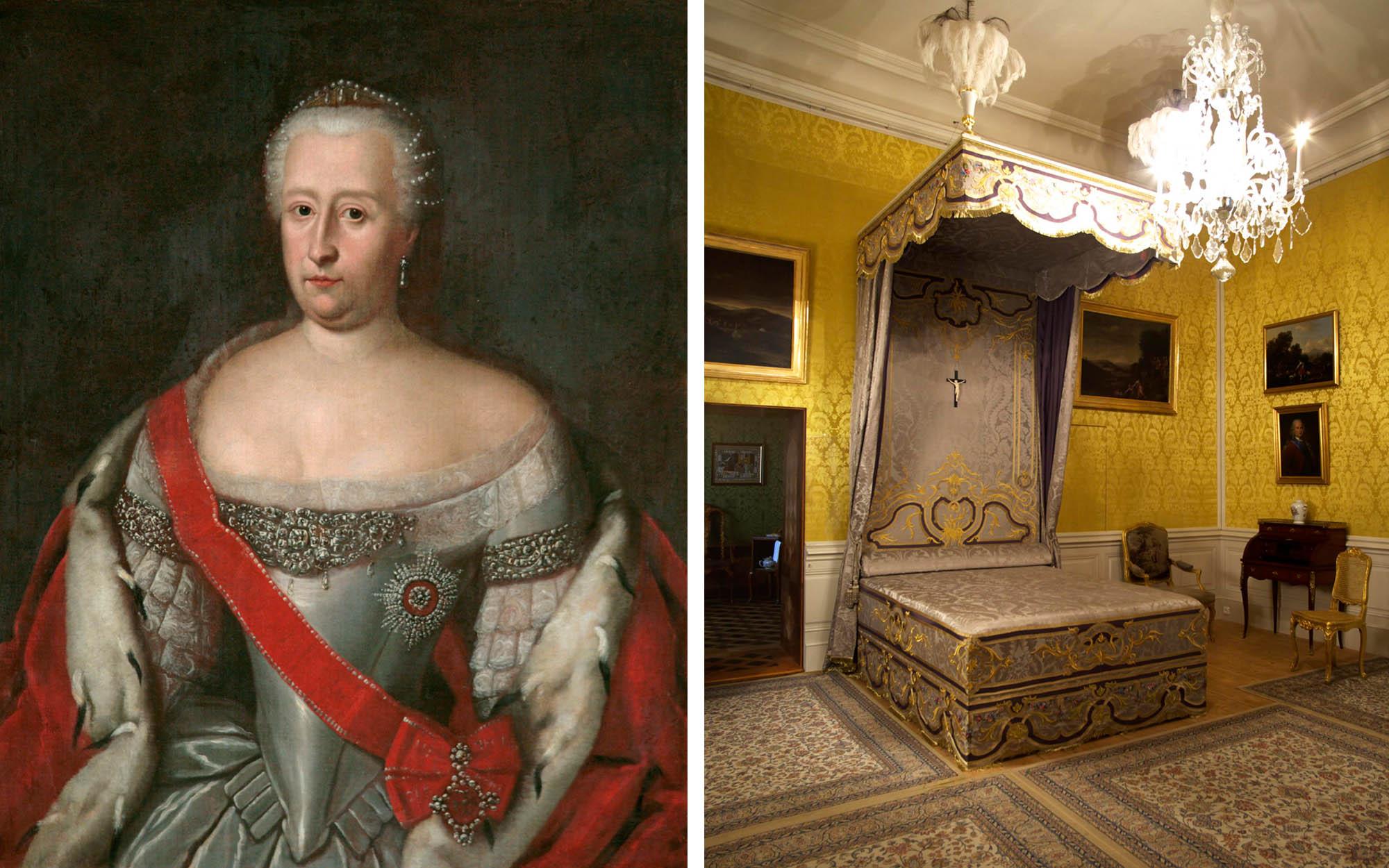 Kāpēc pie hercogienes gultas ir krucifikss? Vai tāpēc, ka viņa daudz slimoja un šī ir viņas mirstamgulta?