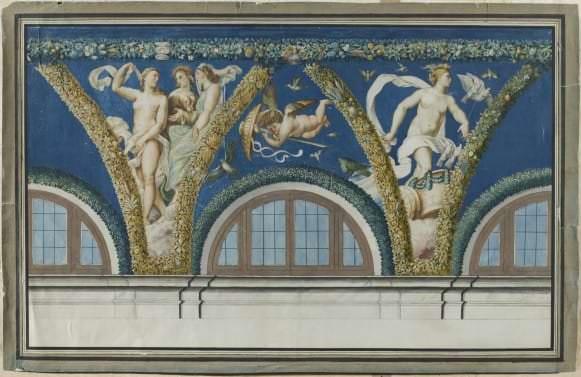Rafaela un Džovanni da Udines freskas (1517-1518) fragments Villa Farnesina Romā. Nezināma mākslinieka zīmējums. 19. gs. sāk.