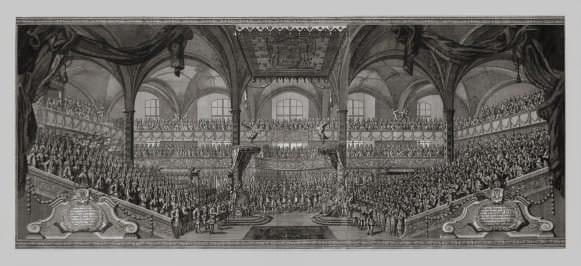 Prūsijas karaļa Frīdriha I intronizācija Kēnigsbergas pils baznīcā 1701. gada 18. janvārī. Nezināms gravieris pēc Johana Frīdriha Eozandera fon Gētes zīmējuma. Vācija, 18. gs. sākums
