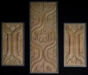 Mēbeļu fragmenti ar gotisko kroku ornamentu. Vācija, 15. gs. 2. puse