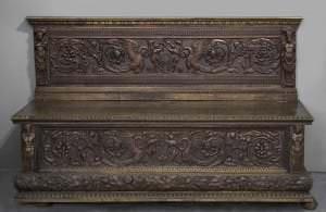 Sols-lāde Cassa panca ar renesanses arabeskas ornamentu. Itālija, 16./19. gs.