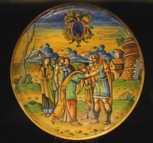 Fajansa šķīvis alzata. Itālija, Urbino, Patanaci darbnīca. 17. gs. sākums