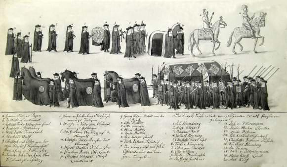 Kurzemes hercoga Frīdriha bēru ceremonija. J. K. Broces kopija (18. gs. beigas) no nezināma oriģināla