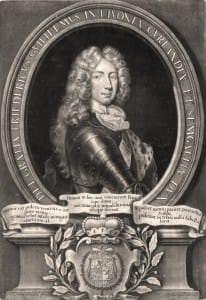 Kurzemes hercogs Frīdrihs Vilhelms. K. Veigela akvatinta pēc L. Hiršmana gleznas. 18. gs. sākums