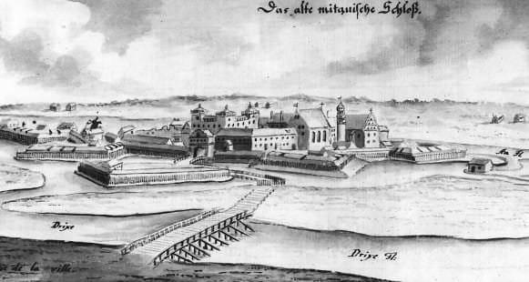 Vecā Jelgavas pils, skats no dienvidrietumiem. J. K. Broces kopija no 17. gs. otrās puses zīmējuma. Celtne ar trim lielajiem logiem - pils baznīca ar hercogu kapenēm