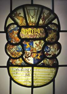 Kurzemes hercoga Jēkaba ģerbonis. Vitrāža no Tērvetes baznīcas, ap 1640.g.