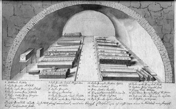 Kurzemes hercogu kapenes vecajā pilī. J. K. Broces kopija no Ferdinanda Vilhelma Zīdava atkārtojuma no Kristiāna Zīdava zīmējuma. 18. gs. 30. gadu sākums