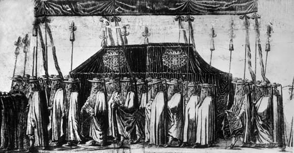 Kurzemes hercogienes Luīzes Šarlotes bēru gājiens. Gravīras fragments. Ap 1677