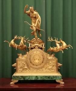 Kamīna pulkstenis. Krievija, Pēterburga. Meistars Andrejs Šreibers. 1829.g.