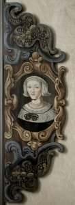 Dītrihs fon Ceics. Kurzeme, Bauska. Epitāfijas fragments Bauskas aptiekāram Johanam Georgam Vitigam ar viņas sievas Elīzabetes Magdalēnas portretu. 1672.g.