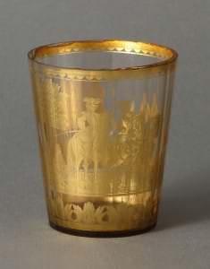 Glāze. Kristālsikls, rubīnstikls, zeltījums, 18.g.s.