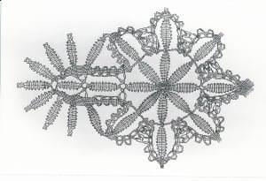 Knipelētas zīda mežģīnes tehniskais zīmējums. Mežģīnes pinuma atšifrēšanu un rekonstrukciju veikusi tekstiliju restauratore vecmeistare Maruta Tālante