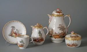 Solitērs (kafijas servīze vienai personai). Vācija, Berlīne, Karaliskā porcelāna manufaktūra. 18. gs. 4. cet.