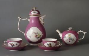 Kafijas un tējas servīzes priekšmeti. Vācija, Meisene, ap 1745. g.