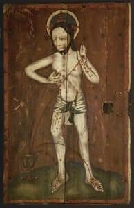 Nezināms mākslinieks. Vācija. Svētā Sakramenta skapīša durvis ar Ciešanu Kristus figūru. 15.gs.