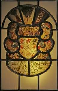 Vitrāža no Tērvetes baznīcas ar Elizabetes Magdalēnas, dzim. Pomerānijas-Volgastes princeses, ģerboni. Kurzeme, ap 1640